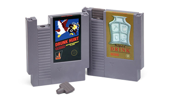 Flasks Made From Old NES Video Game Cartridges