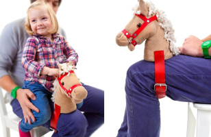 A Horse Head That Straps Onto Your Leg For A Better Horsey Ride
