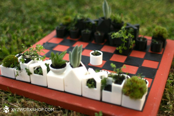 Outdoorsy Chess Set Has Little Mini Planters As Playing Pieces