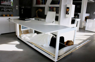 A Desk That Doubles As A Bed Is Perfect For A Live/Work Situation