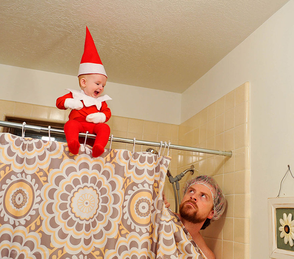A Dad Makes A Photo Series Of His Baby As The Elf On The Shelf