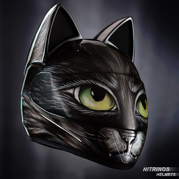 A Helmet With Cat Ears, For Cat Loving Motorcycle Enthusiasts