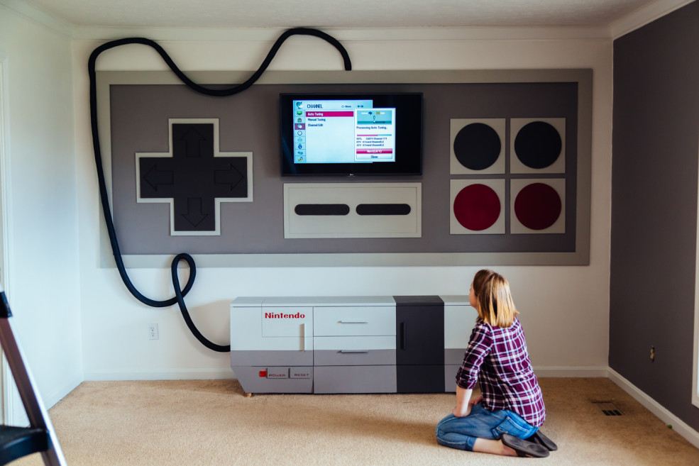 nintendo home entertainment system is perfect for gamers. Black Bedroom Furniture Sets. Home Design Ideas