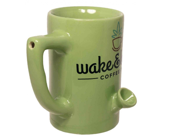 Wake amp bake coffee co mug and pipe have your morning cup and bowl at