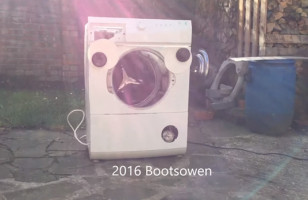 A Washing Machine With Googly Eyes Gets The Brick Treatment