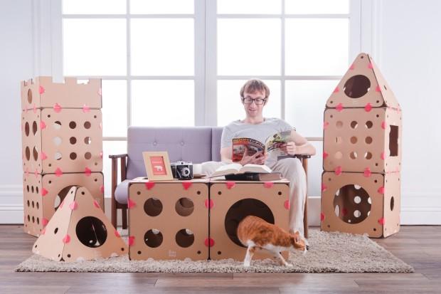 Connectable Cardboard Creates Customizable Cat Houses