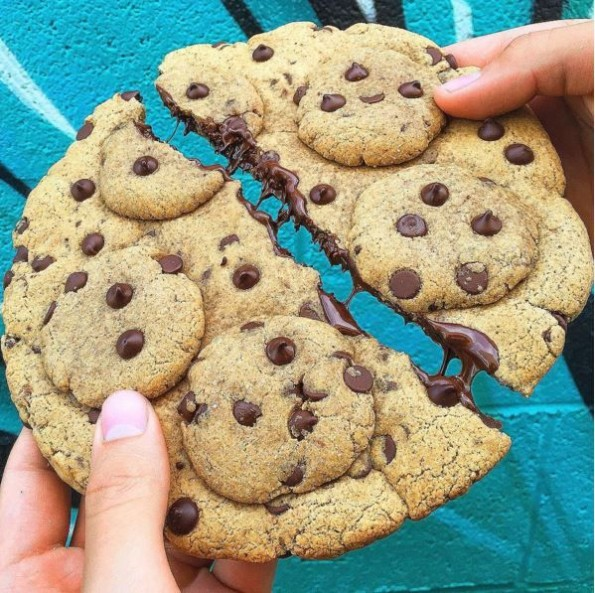 Giant Chocolate Chip Cookie Topped With Chocolate Chip Cookies ...