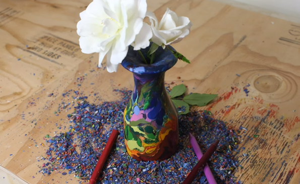 This Rainbow Vase Was Carved Out Of A Brick Of Crayons