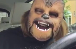 This Lady Experiences True Joy Wearing A Chewbacca Mask