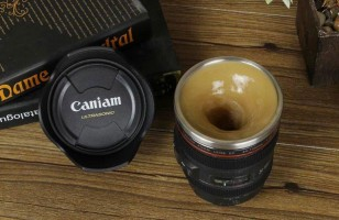 Self-Stirring Camera Lens Coffee Mug For Coffee Loving Photogs