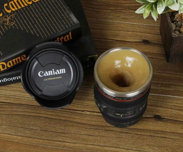 Self-Stirring Camera Lens Coffee Mug For Coffee Loving Photogs