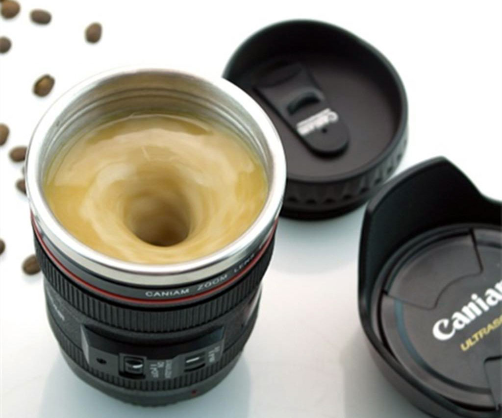 This very clever camera lens coffee mug can stir itself for Photo lens coffee cup