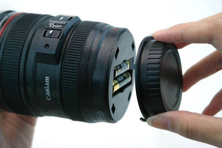 This Very Clever Camera Lens Coffee Mug Can Stir Itself