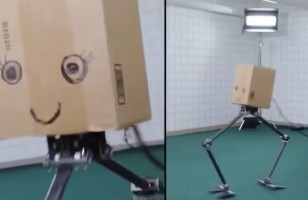You Gotta See This Dancing Robot With A Cardboard Head