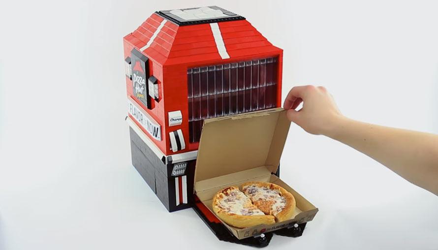 lego pizza hut vending machine actually dispenses pizza. Black Bedroom Furniture Sets. Home Design Ideas