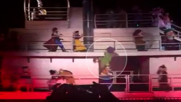 Dopey The Dwarf Falls Off A Railing On Stage, Lands On Goofy