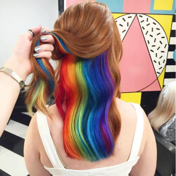 Hidden Rainbow Hair Is The Newest Pretty Hair Trend