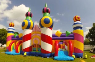 A Video Of The World's Biggest Bouncy Castle Being Inflated
