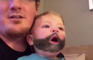 A Baby Sneezes A Snapchat Beard On His Dad & It's Adorable