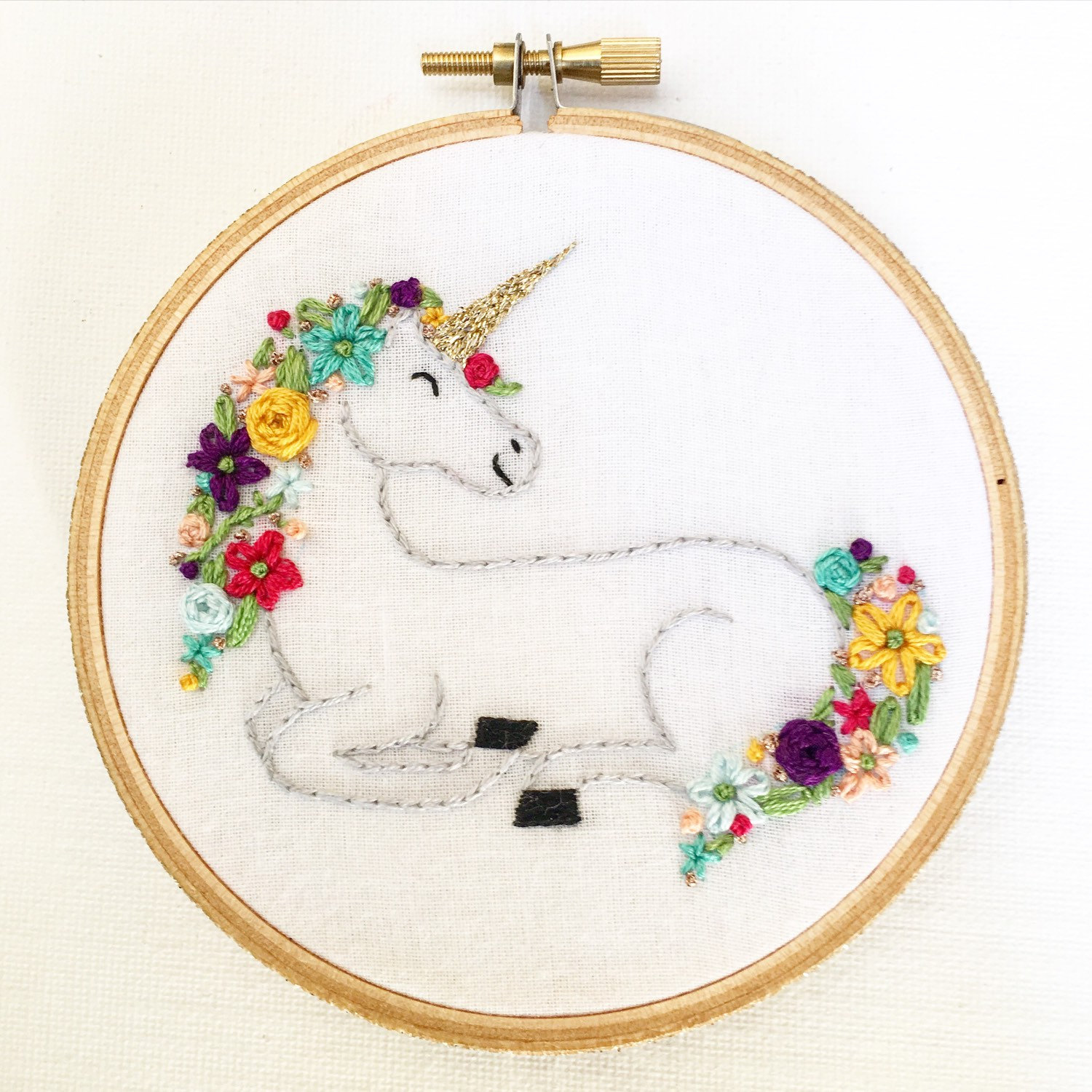 Marvelous unicorn embroidery hoop art