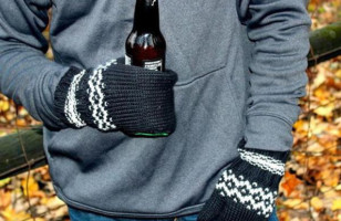 Keep Your Hands Warm And Beer Cold With Beer Koozy Mittens