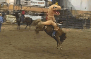 Nothing To See Here, Just A T-Rex Riding A Bucking Bronco