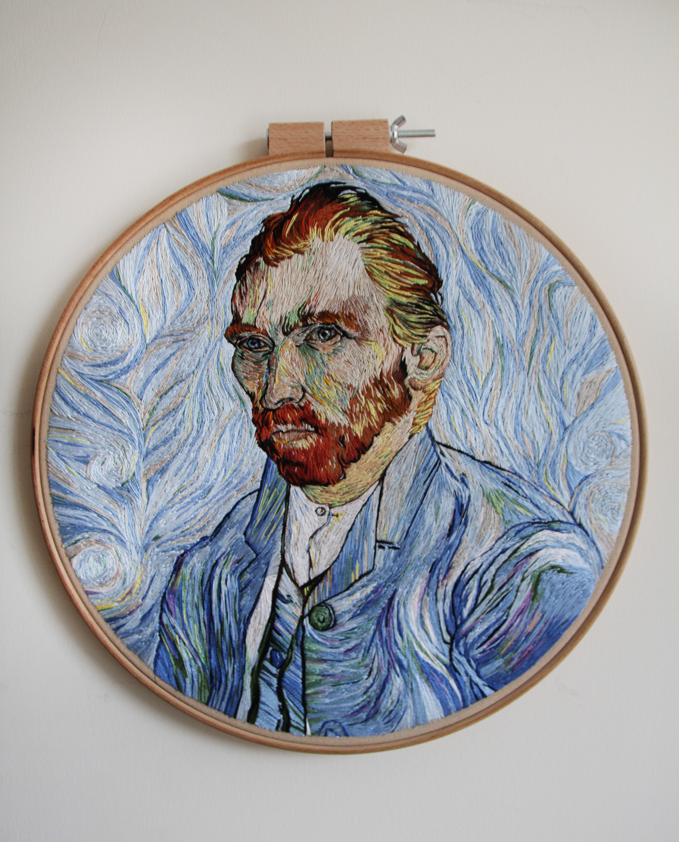 An Embroidered Replica Of Van Gogh's Self Portrait