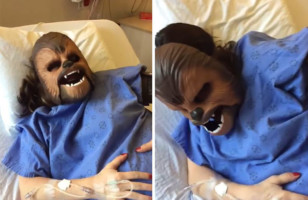 A Woman Wears A Chewbacca Mask While Giving Birth…