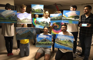 One Guy Had A Happy Little Bob Ross Themed Birthday Party