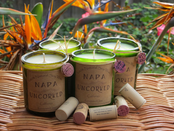 Wine Scented Candles Packaged In Recycled Wine Bottles