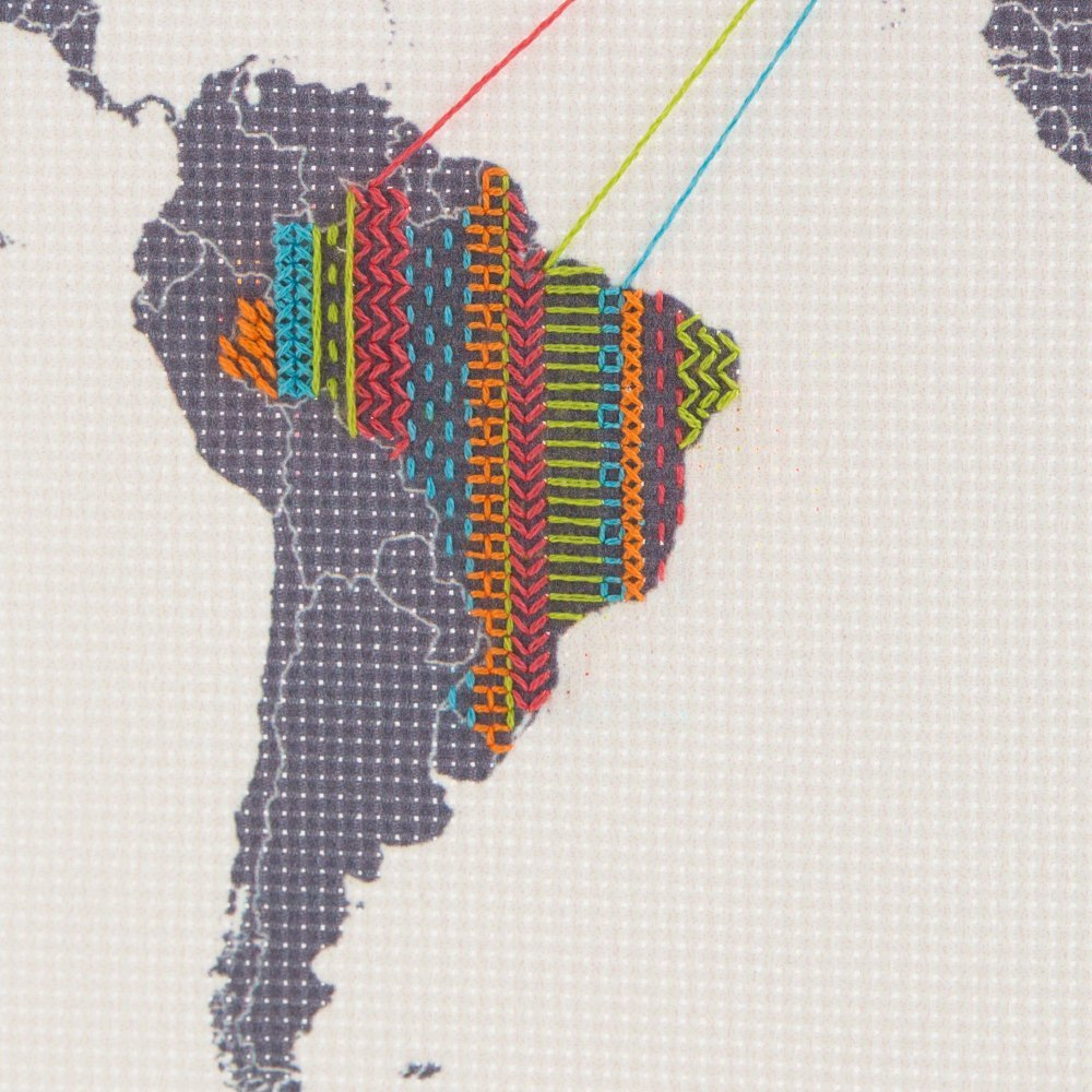 Track Your Travels With This Clever Cross Stitch World Map - World map track your travels