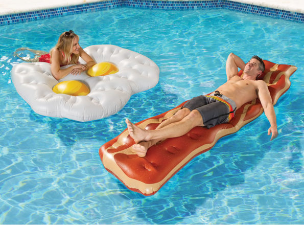 eggs and bacon pool floats are part of a balanced breakfast. Black Bedroom Furniture Sets. Home Design Ideas