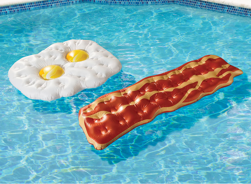 Eggs And Bacon Pool Floats Are Part Of A Balanced Breakfast