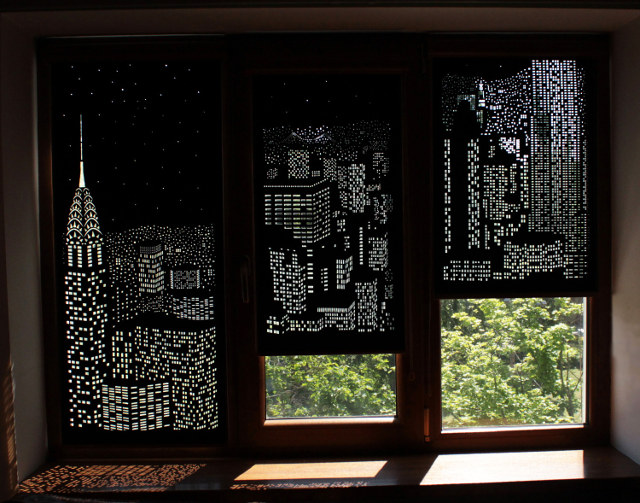 The Holeroll Is A Perforated Blind That Shows A Cityscape