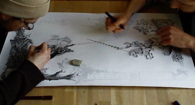 Watch Two Artists Work On The Same Drawing At The Same Time