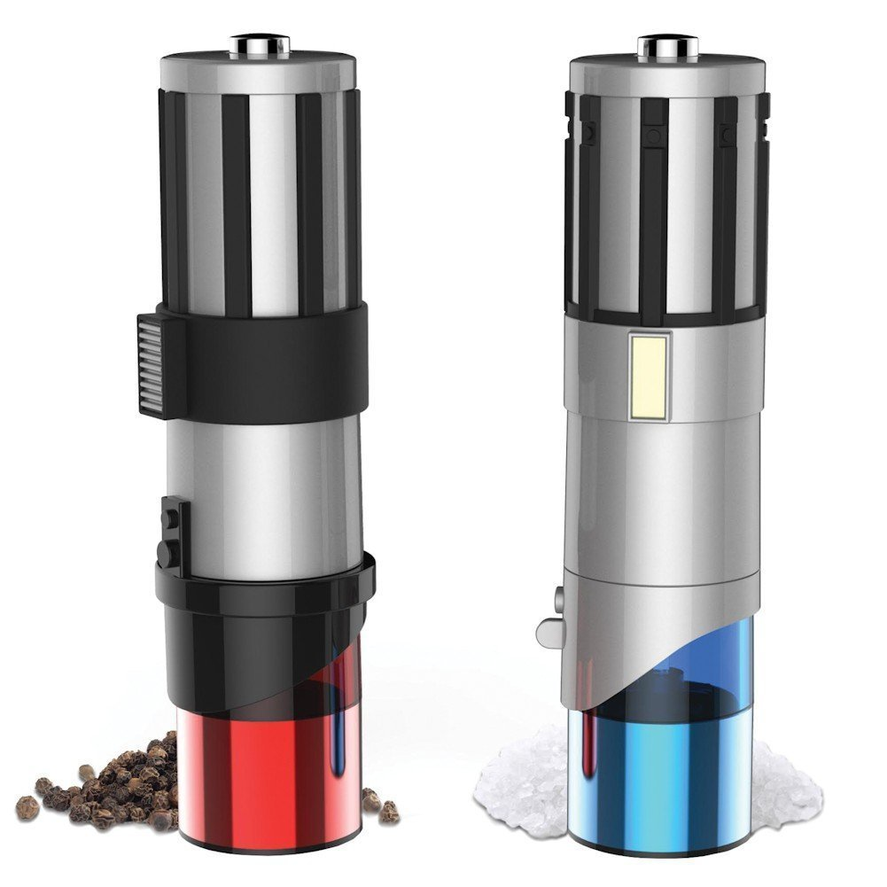 lightsaber salt and pepper grinders because star wars. Black Bedroom Furniture Sets. Home Design Ideas