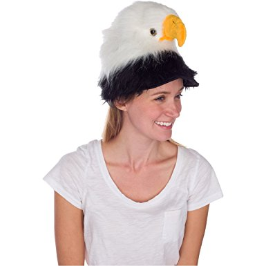 Realistic Plush Bird Costume Headwear - Bald Eagle Animal Hat