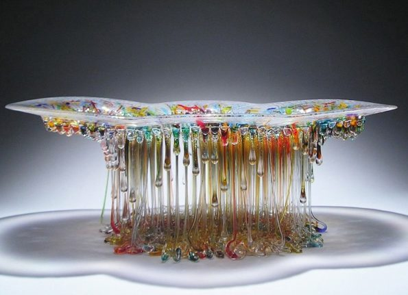 Amazing Dripping Glass Table - Jellyfish Sculptures