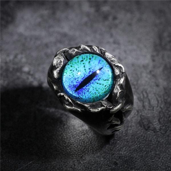 Handmade Gothic Creation Silver Cat's Eye Ring