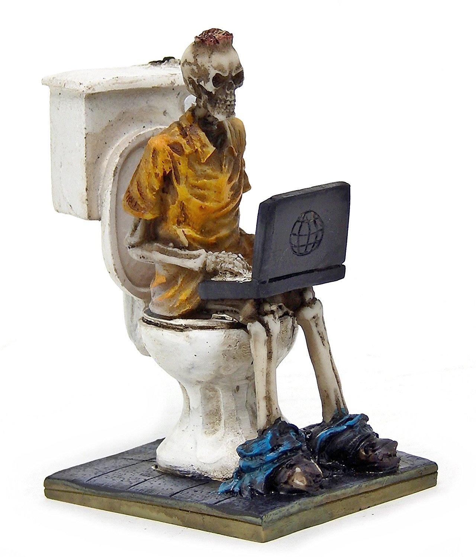 Laptop Workaholic Geek Toilet Skeleton Statue