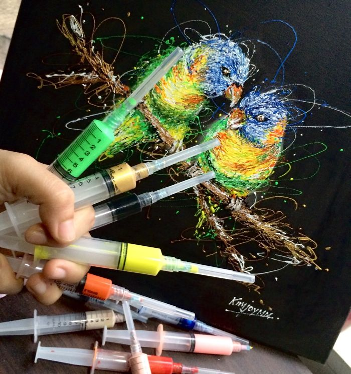Nurse Uses Syringes To Paint In Her Free Time