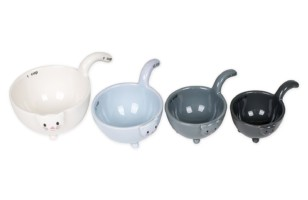 Stackable Ceramic Cat Measuring Cups