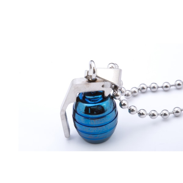 Military Style Fashion : HAND GRENADE PENDANT NECKLACE in BLUE