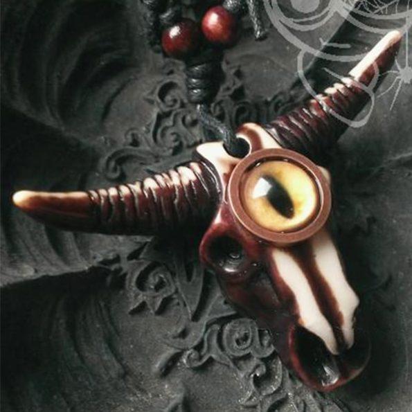 Goth Alternative Style - Bull Evil Eye Necklace