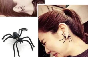 Halloween Black Spider Ear Stud Earrings Jewelry