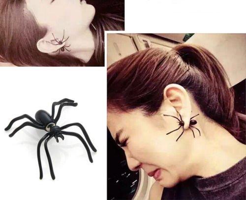 Halloween Black Spider Ear Stud Earrings Jewelry