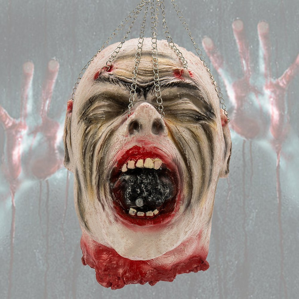 Halloween Severed Head Cut off Corpse Head Props Hanging Bloody Gory Latex Zombie