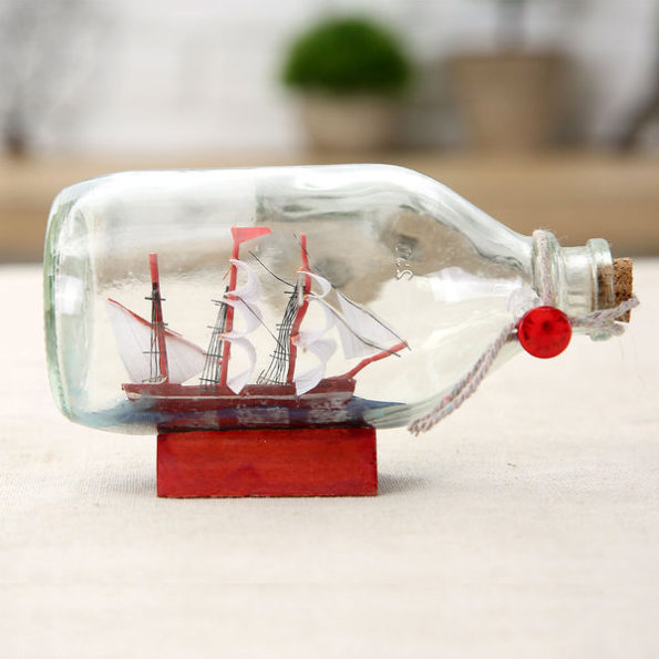 Nautical Table Top Sail Boat in Drift Bottle