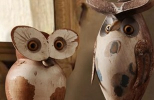 Real Wood Design Avid Owl Statues