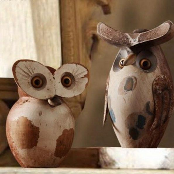 Real Wood Design Avid Owl Statues